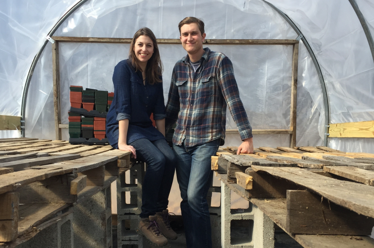 Next generation farmers Zach Pickens and Manda Martin in greenhouse