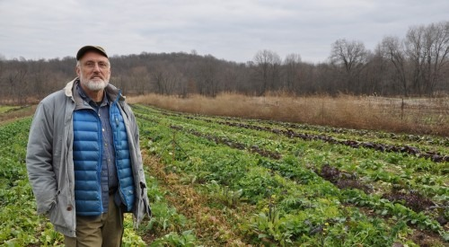 Farmer Morse Pitts in vegetable field